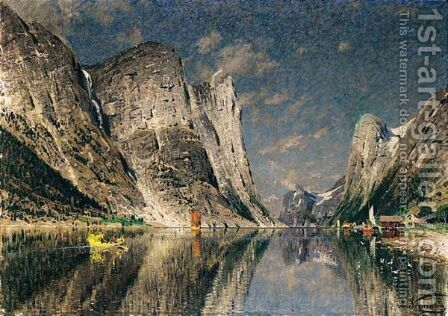 Boats On A Fjord by Adelsteen Normann - Reproduction Oil Painting