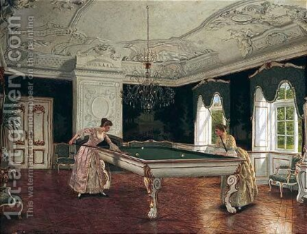 Women Playing Billiards by Heinrich Hansen - Reproduction Oil Painting