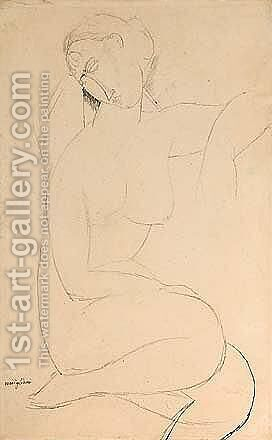 Femme Nue Assise 2 by Amedeo Modigliani - Reproduction Oil Painting
