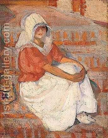 Saint-jean-de-monts, Jeune Femme Assise by Henri Lebasque - Reproduction Oil Painting