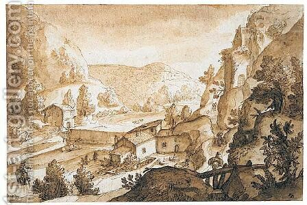 Mountainous river landscape with a view onto a mill by (after) Joos Or Josse De, The Younger Momper - Reproduction Oil Painting