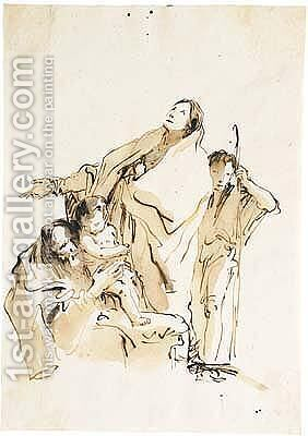 Pen And Brown Ink And Wash by Giovanni Battista Tiepolo - Reproduction Oil Painting
