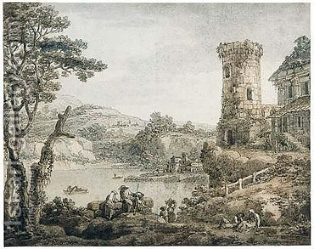 A Capriccio With Buildings And A Tower Around A Lake by Antonio Zucchi - Reproduction Oil Painting