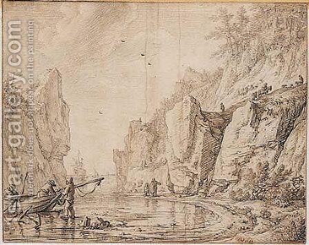 Unloading Boats In A Rocky Bay by Herman Saftleven - Reproduction Oil Painting
