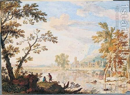 Italianate landscape by Jan Van Huysum - Reproduction Oil Painting