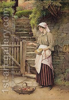 Feeding The Robin by Charles Edward Wilson - Reproduction Oil Painting