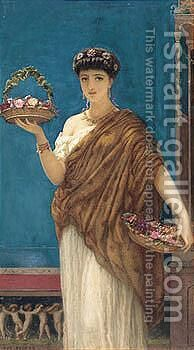 Pompeian Fruit Bearer by Auguste Jules Bouvier, N.W.S. - Reproduction Oil Painting