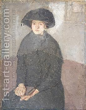 Girl Posing In A Hat With Tassels by Gwen John - Reproduction Oil Painting