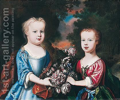 Portrait Of Two Children With Flowers In A Landscape by (after) Robert Byng Or Bing - Reproduction Oil Painting