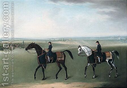 Two Racehorses And Their Jockeys Exercising On Newmarket Heath by James Seymour - Reproduction Oil Painting