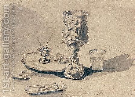 Still-life With Goblet, Candlestick, Glass And Scissors by Alexander Nasmyth - Reproduction Oil Painting
