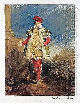 Study Of A Gentleman In Elizabethan Costume by David Cox - Reproduction Oil Painting
