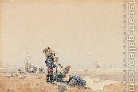 Fishermen On The Shore by David Cox - Reproduction Oil Painting
