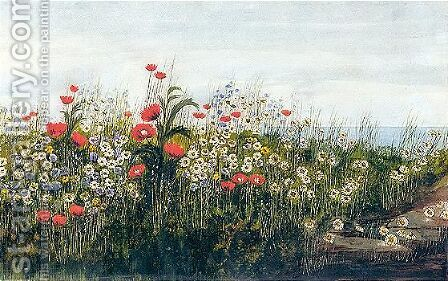 A Poppy Field By The Sea by Andrew Nicholl - Reproduction Oil Painting