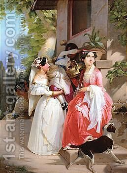 Young women resting on a bench by Continental School - Reproduction Oil Painting
