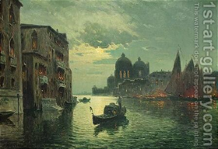 The Grand Canal at night by Antione Bouvard - Reproduction Oil Painting