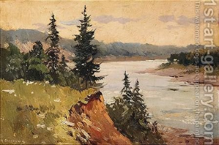 By the river by Ilya Semenovich Ostroukhov - Reproduction Oil Painting