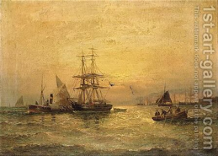 Off Portsmouth by Hubert Thornley - Reproduction Oil Painting