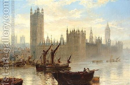 The Houses Of Parliament From The Thames by Claude T. Stanfield Moore - Reproduction Oil Painting