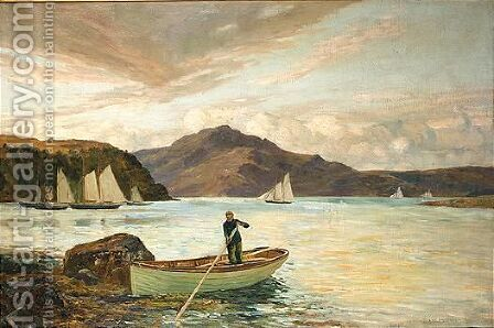 On a sea loch by Andrew Black - Reproduction Oil Painting