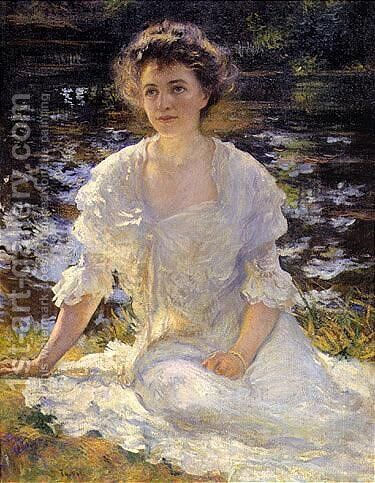 Portrait of Eleanor Hyde by Edmund Charles Tarbell - Reproduction Oil Painting