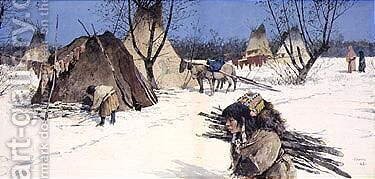 Winter encampment by Henry Farny - Reproduction Oil Painting