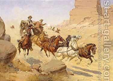 Attack on the stagecoach by Herman Wendleborg Hansen - Reproduction Oil Painting