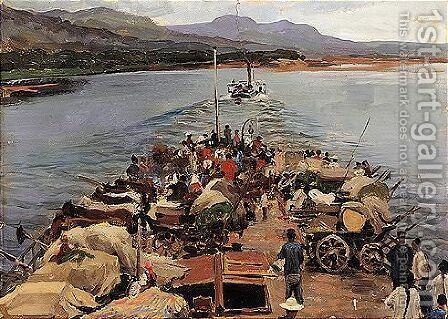 Study for the painting 'On the amur' by Alexander Innokentevich Chirkov - Reproduction Oil Painting