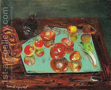 Still life with apples, vegetables and bread by Boris Dmitrievich Grigoriev - Reproduction Oil Painting