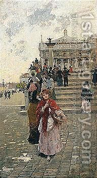 La Venditrice Di Fiori, Venezia (Flower Seller, Venice) by Charles Fortin - Reproduction Oil Painting