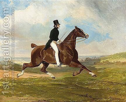 Leonce, Vicomte Edoard Du Flajey (1804-1973) Au Trot by Alfred Dedreux - Reproduction Oil Painting