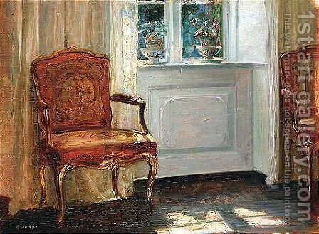 Interior With Red Chair by Carl Vilhelm Holsoe - Reproduction Oil Painting