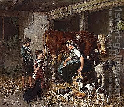 Im Stall (In The Stable) by Adolf Eberle - Reproduction Oil Painting