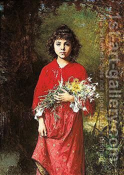 The Flower Girl 3 by Alexei Alexeivich Harlamoff - Reproduction Oil Painting