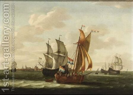 A Kaag, Small Cargo Ships And Other Vessels On The Zuiderzee With A View by Jacob Gerritz Loef - Reproduction Oil Painting