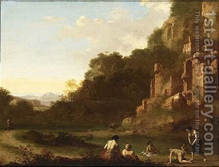 Nymphs Bathing In A Landscape With Ruins by Cornelis Van Poelenburgh - Reproduction Oil Painting