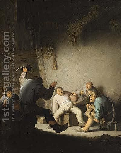 Peasants Drinking And Making Music In A Barn Interior by Adriaen Jansz. Van Ostade - Reproduction Oil Painting