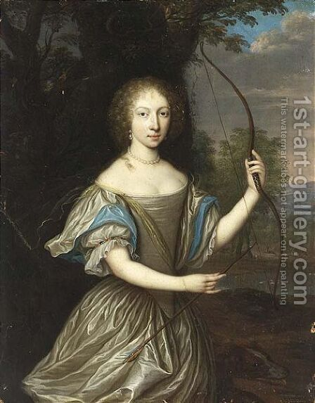 As Diana Standing Three Quarter Length In A Park by (after) Pieter Nason - Reproduction Oil Painting