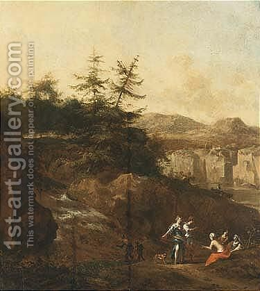 A Mountainous Wooded by Jan van der the Younger Meer - Reproduction Oil Painting