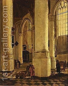 The interior of the oude kerk with the tomb of piet hein by (after) Gerard Houckgeest - Reproduction Oil Painting