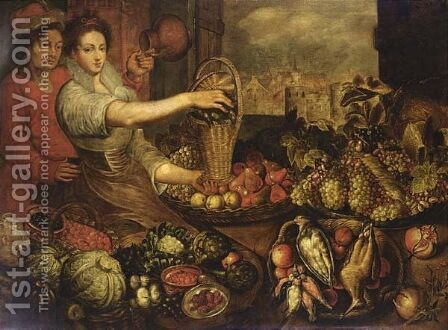 And Apples In A Baskets With Birds, Green Cabbages by (after) Joachim Beuckelaer - Reproduction Oil Painting