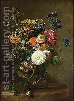 Flowers In A Glass Vase, All On A Marble Ledge by Dutch School - Reproduction Oil Painting
