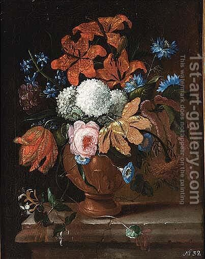 Terracotta Vase On A Stone Ledge by (after) Peter Casteels - Reproduction Oil Painting