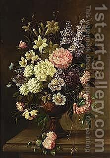 A flower still life with roses, daffodils and other flowers by Dutch School - Reproduction Oil Painting