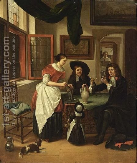 Elegant figures drinking and smoking in an interior by Haarlem School - Reproduction Oil Painting