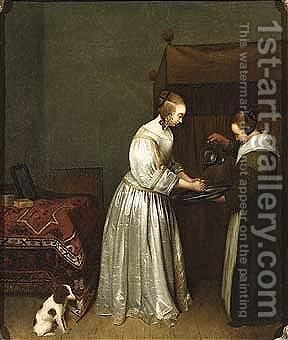 A lady washing her hands in an interior by (after) Gerard Ter Borch - Reproduction Oil Painting