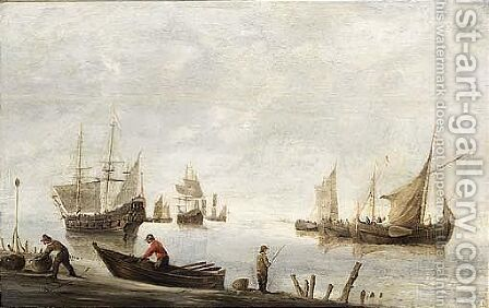 Fishermen Fishing And Unloading Their Catch In The Foreground by (after) Hendrick Dubbels - Reproduction Oil Painting