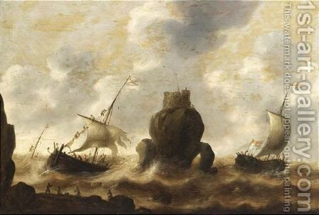 Stormy Seas With A Shipwreck And Fishermen In The Foreground by Jacob Adriaensz. Bellevois - Reproduction Oil Painting