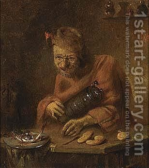 A Man Drinking And Eating by Abraham Diepraem - Reproduction Oil Painting