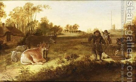 Landscape with fishermen holding a ducktrap, cows and sheep nearby by (after) Govert Dircksz. Camphuysen - Reproduction Oil Painting